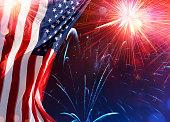 Us Celebration - Usa Flag With Fireworks