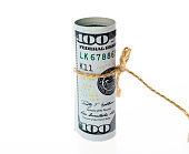 Us currency rolled