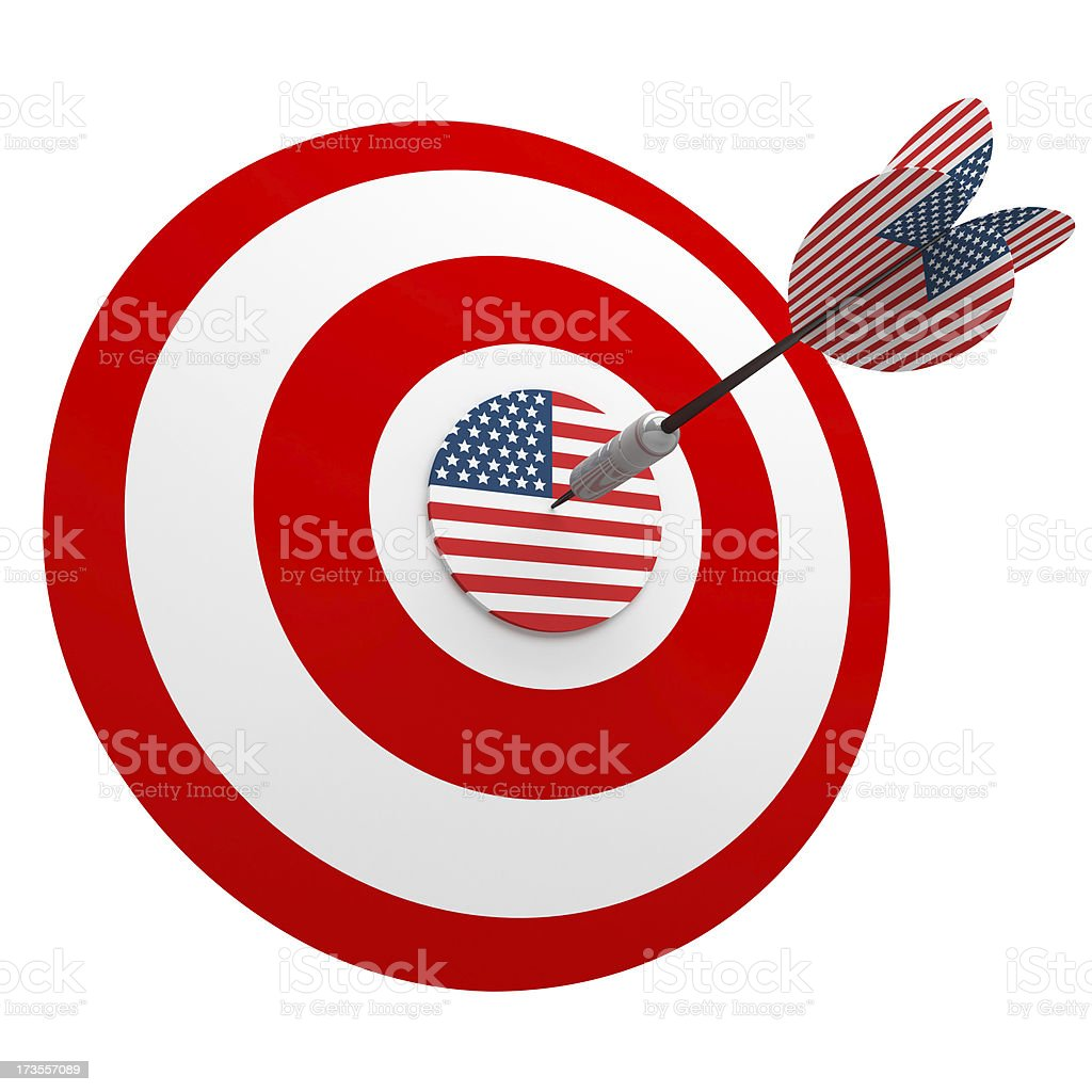 3D Us Dart in Center of USA Target royalty-free stock photo