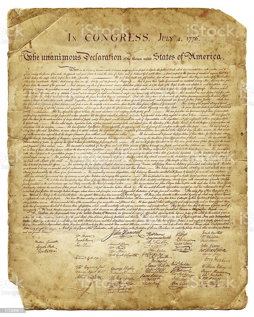 us declaration of independence 1776 stock photo