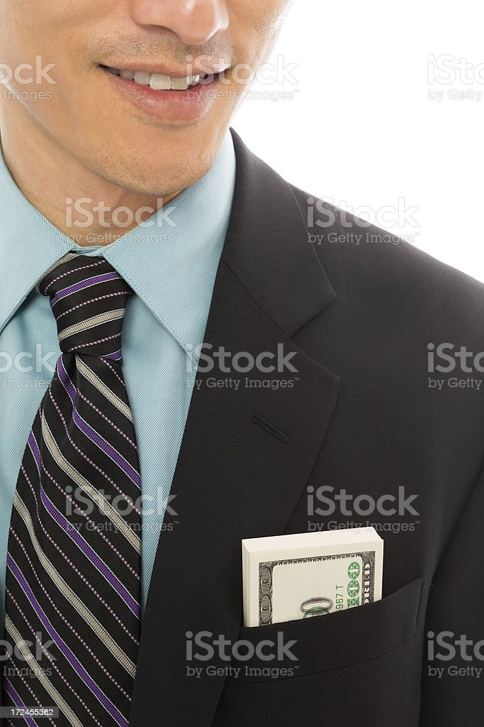 Us Dollars In Businessman's Pocket royalty-free stock photo