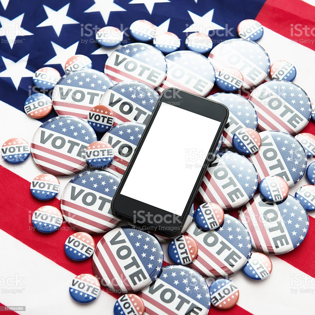 Us election 2012 with blank smartphone stock photo