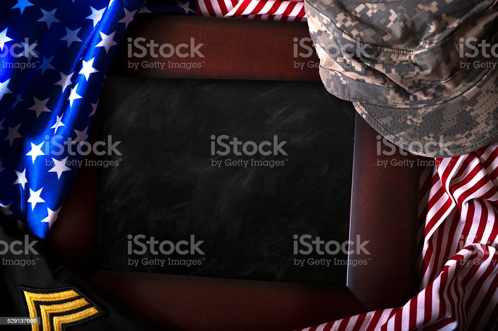 Us Flag and Frame stock photo
