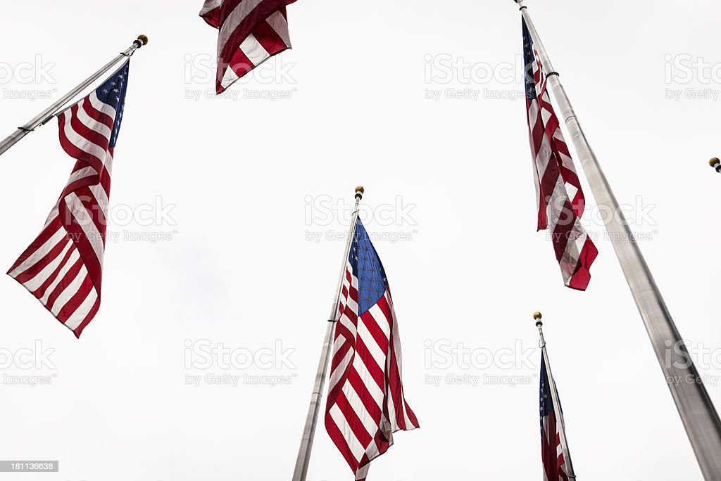 us flag on cloudy sky royalty-free stock photo