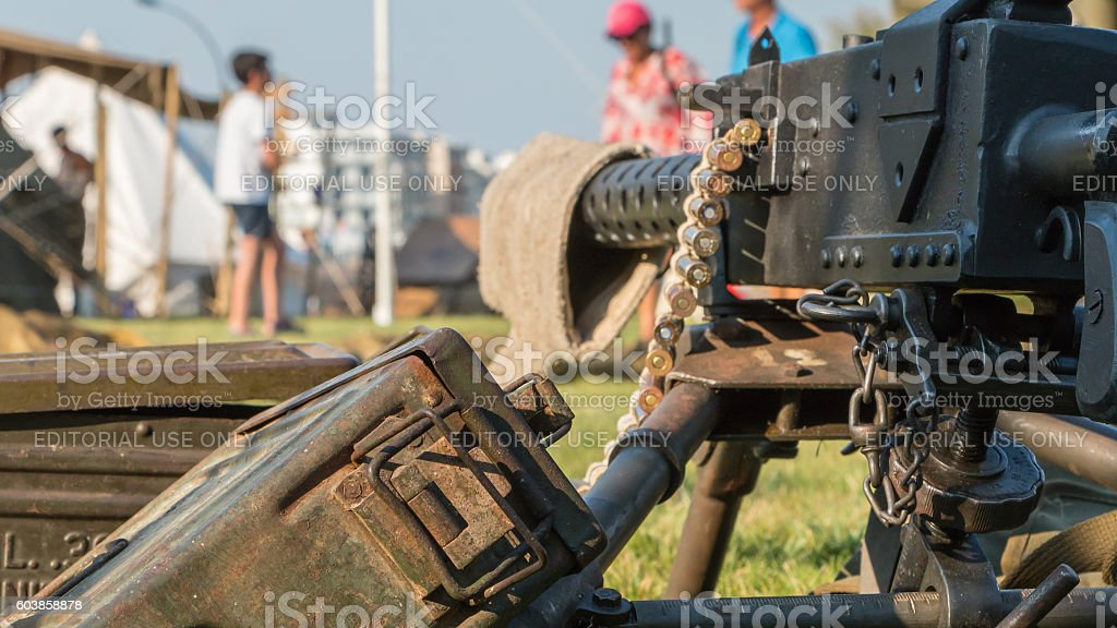 us machine gun close-up stock photo