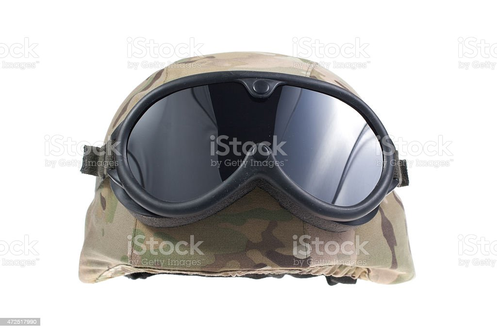 us marines kevlar helmet with a multicam camouflage cover stock photo