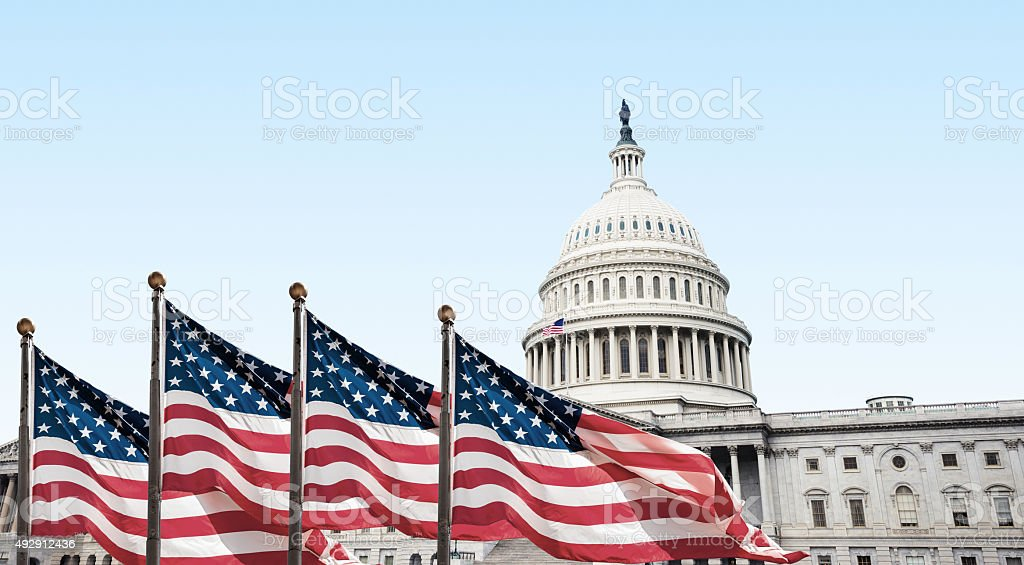 us national flag in washington dc stock photo