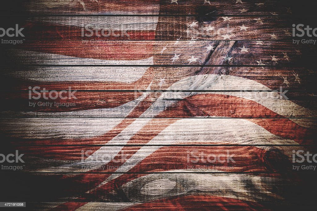 us national flag on plank wood stock photo