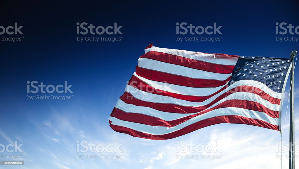us national flag waving for a national day stock photo