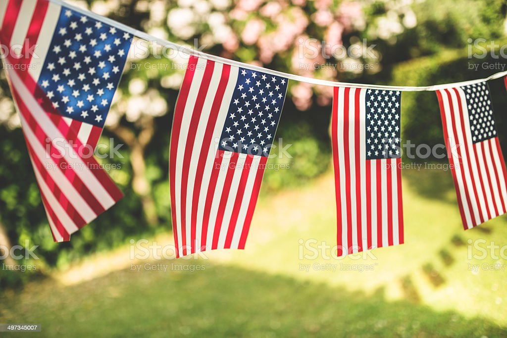 us national holiday pennants stock photo