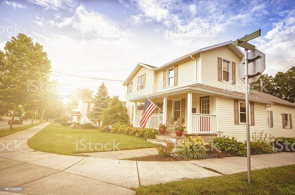 us residential cottage house stock photo