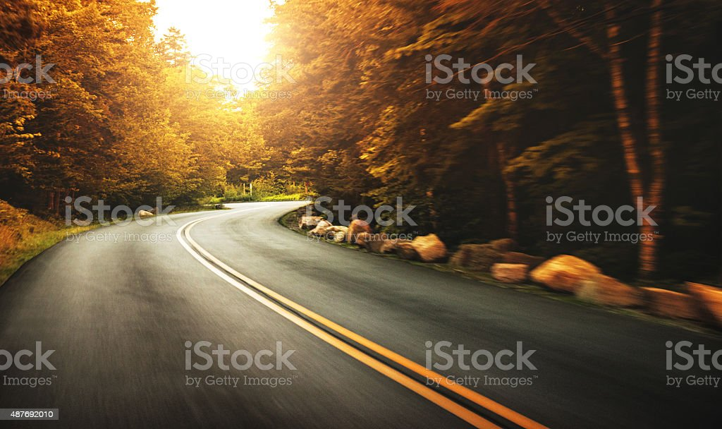 Us road on acadia national park stock photo