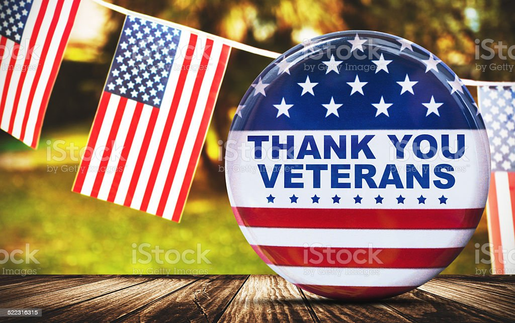 us veterans national holiday pennants stock photo