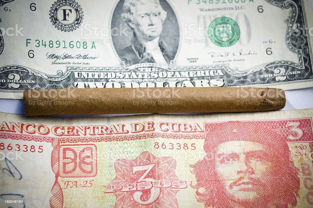 usa dollar and cuban peso stock photo