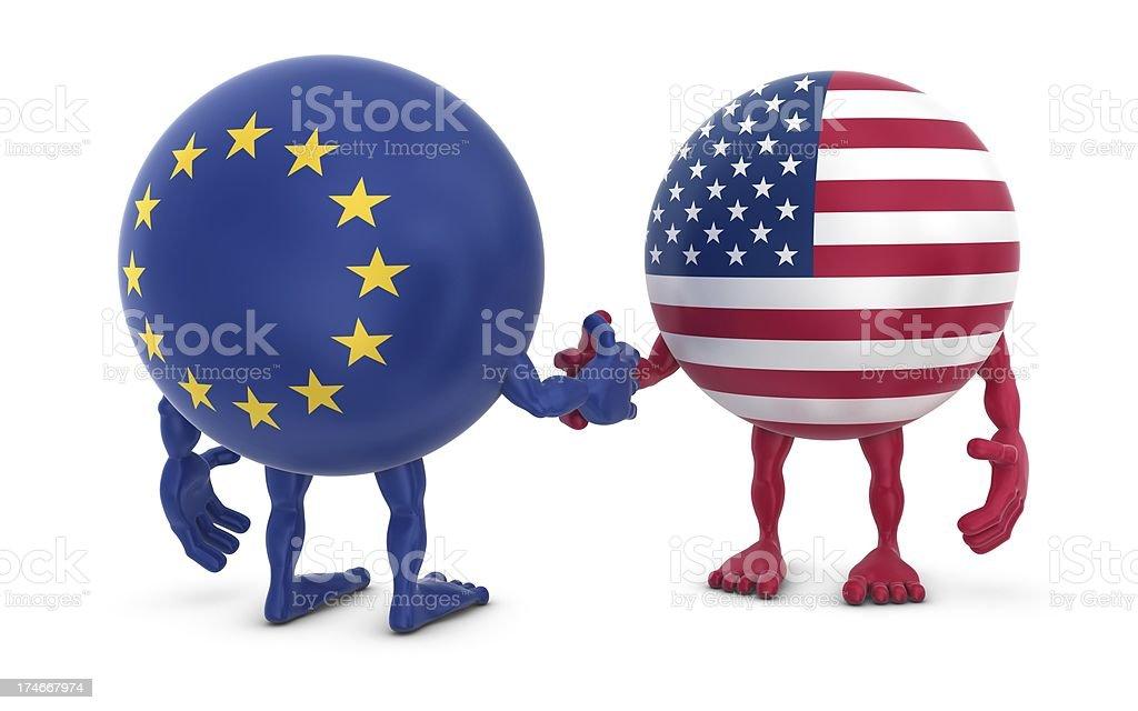 usa - eu handshake stock photo
