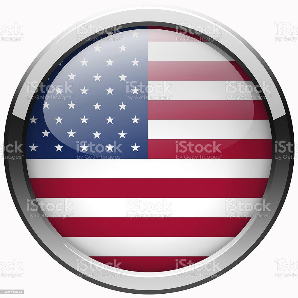 usa flag gel metal button stock photo