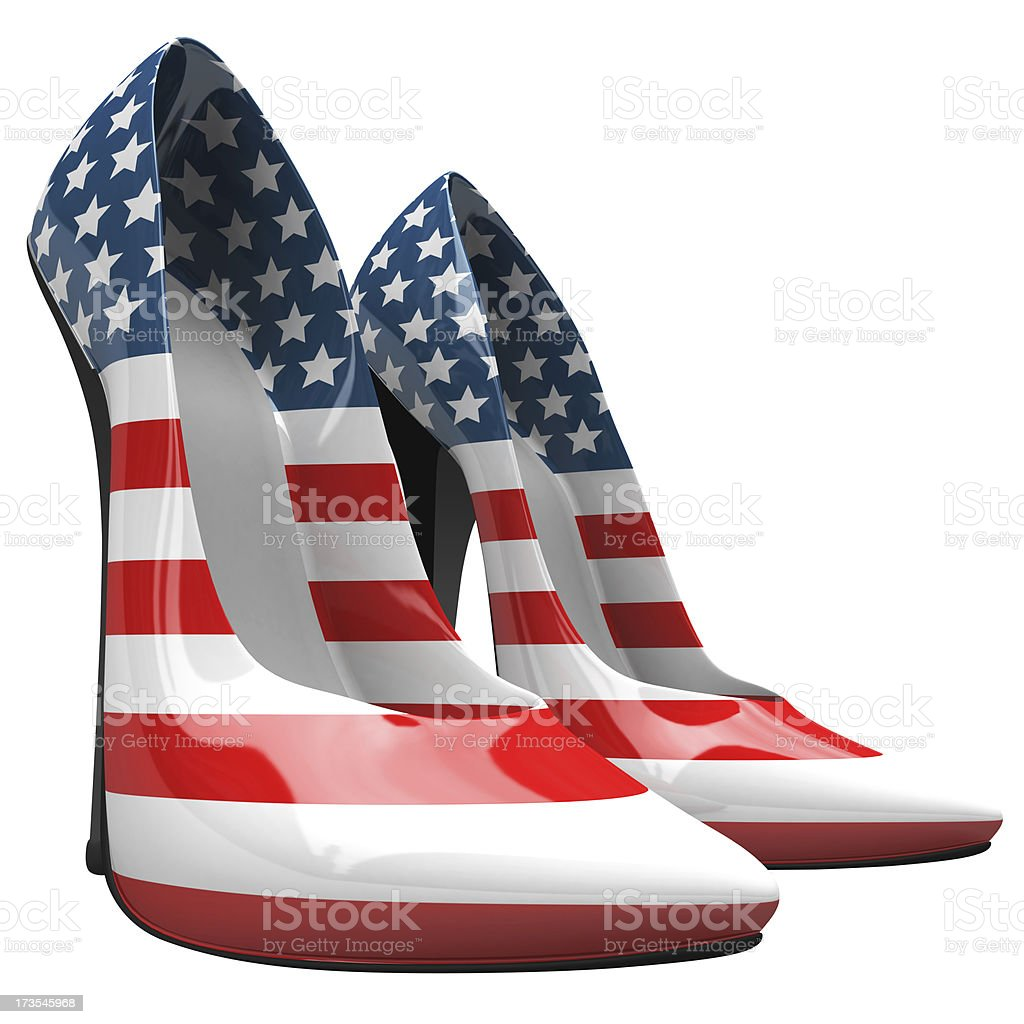 3D Usa High Heels - Macro and Side View stock photo