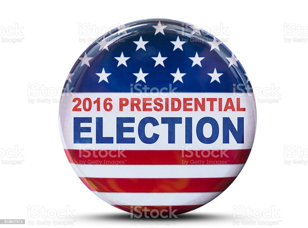 usa presidential election badge isolated on white background stock photo