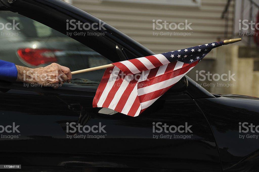 usa  small town new england parade elderly flag stock photo