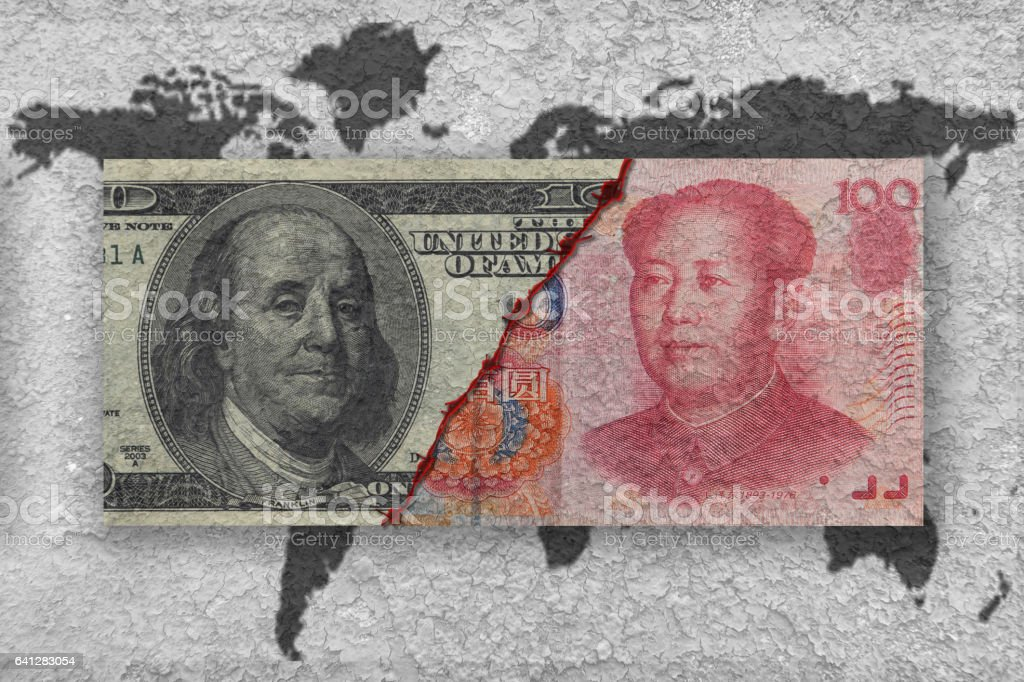 usa versus china, economic war concept stock photo