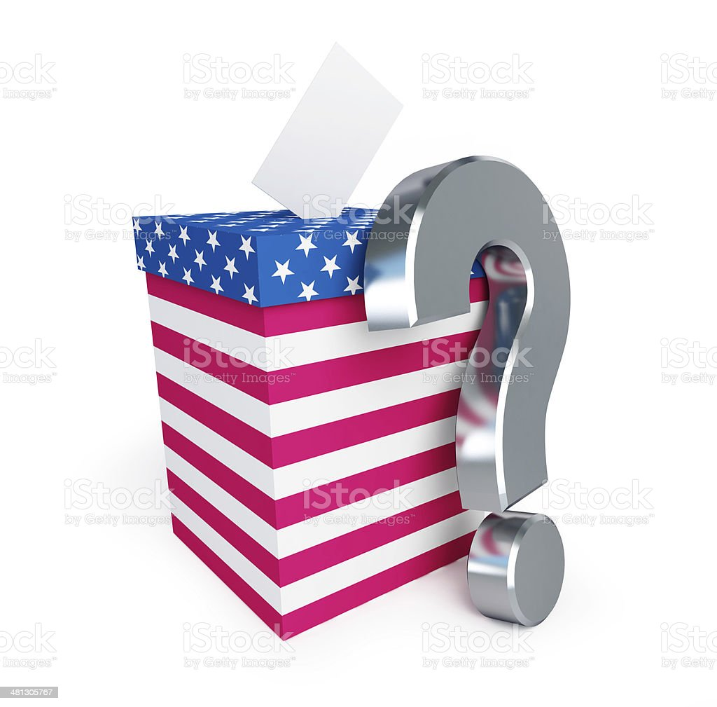 usa vote question mark on a white background stock photo