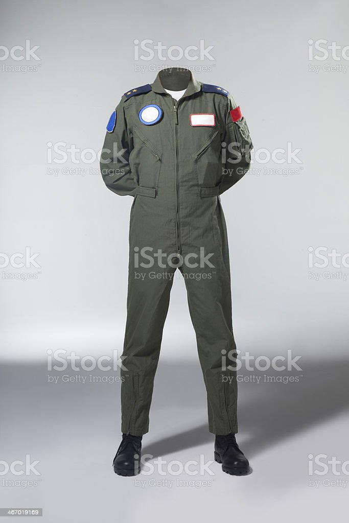 Usable fighter pilot's body without head stock photo