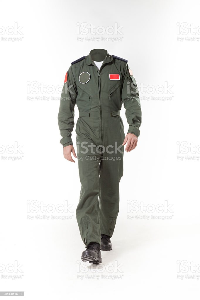 Usable fighter pilot's body without head to use for retouch stock photo