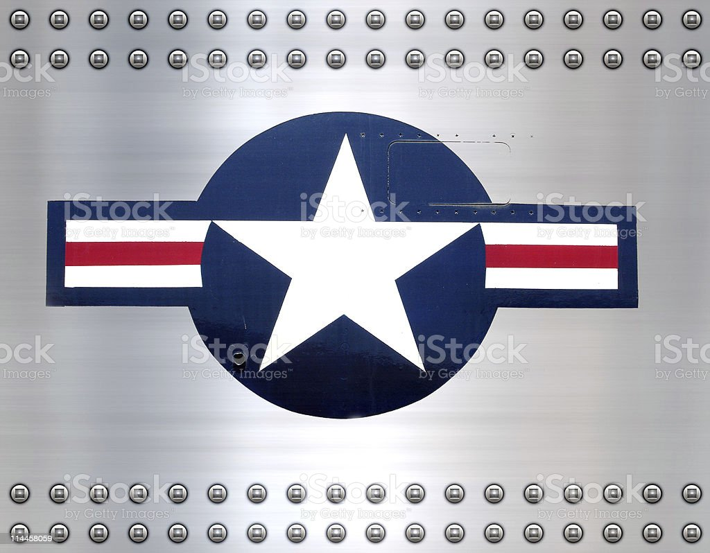 usaf star on brushed metal stock photo