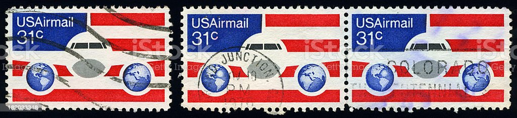 USAirmail Postage Stamps royalty-free stock photo
