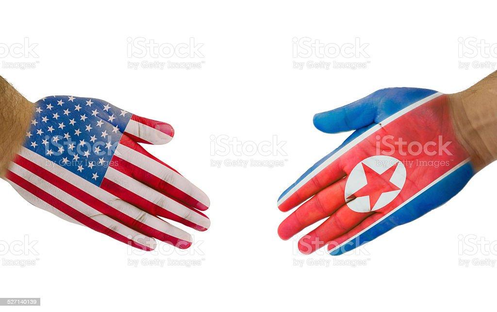 USA-North Korea Handshake stock photo