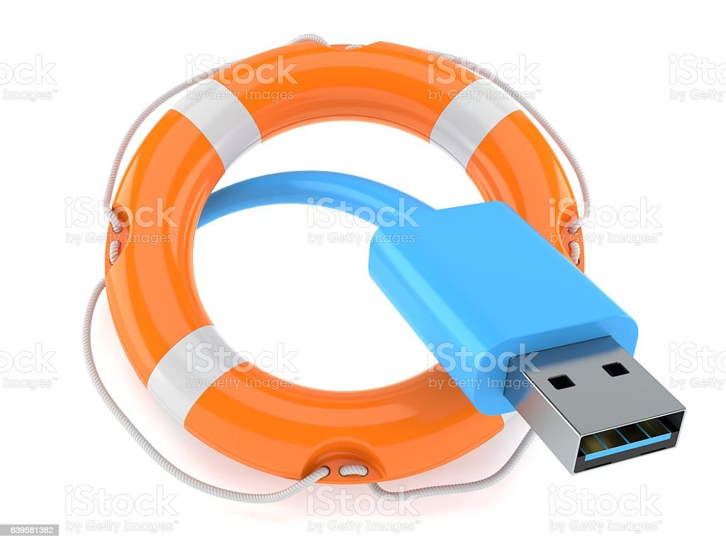 Usb cable with life buoy stock photo