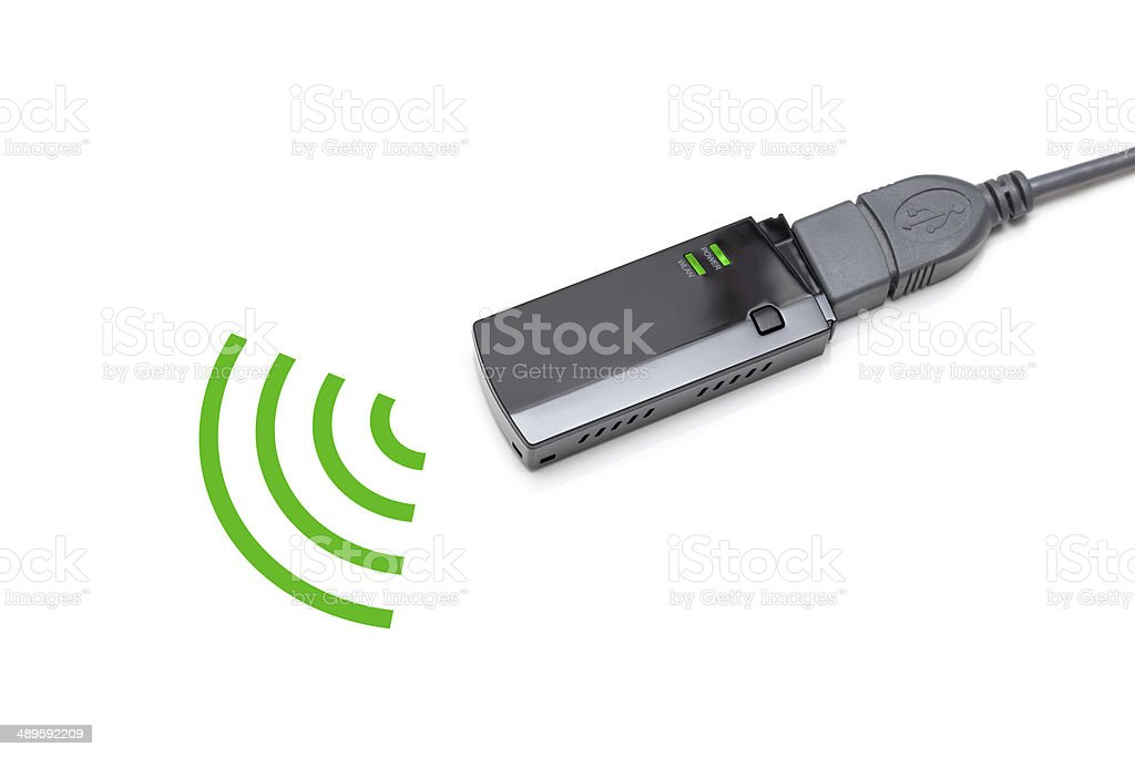 usb wireless adapter on white background stock photo