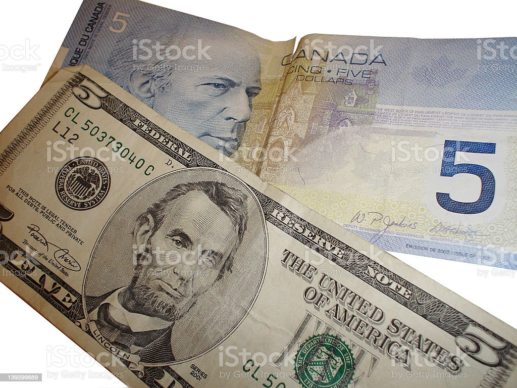 US/Canada currency stock photo