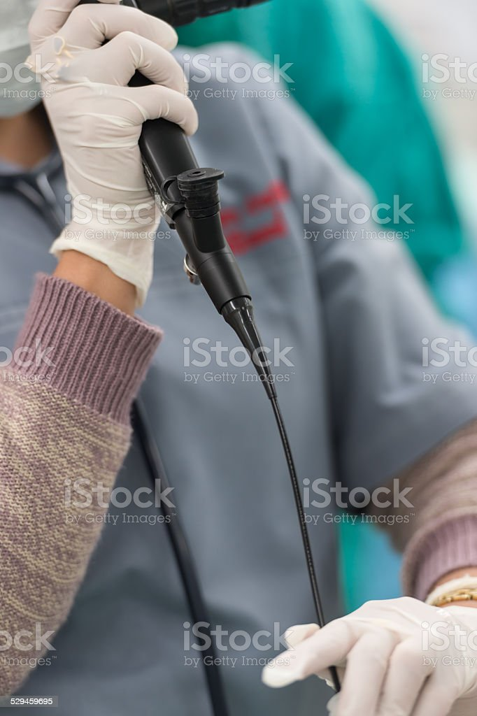 use bronchoscope to check position stock photo