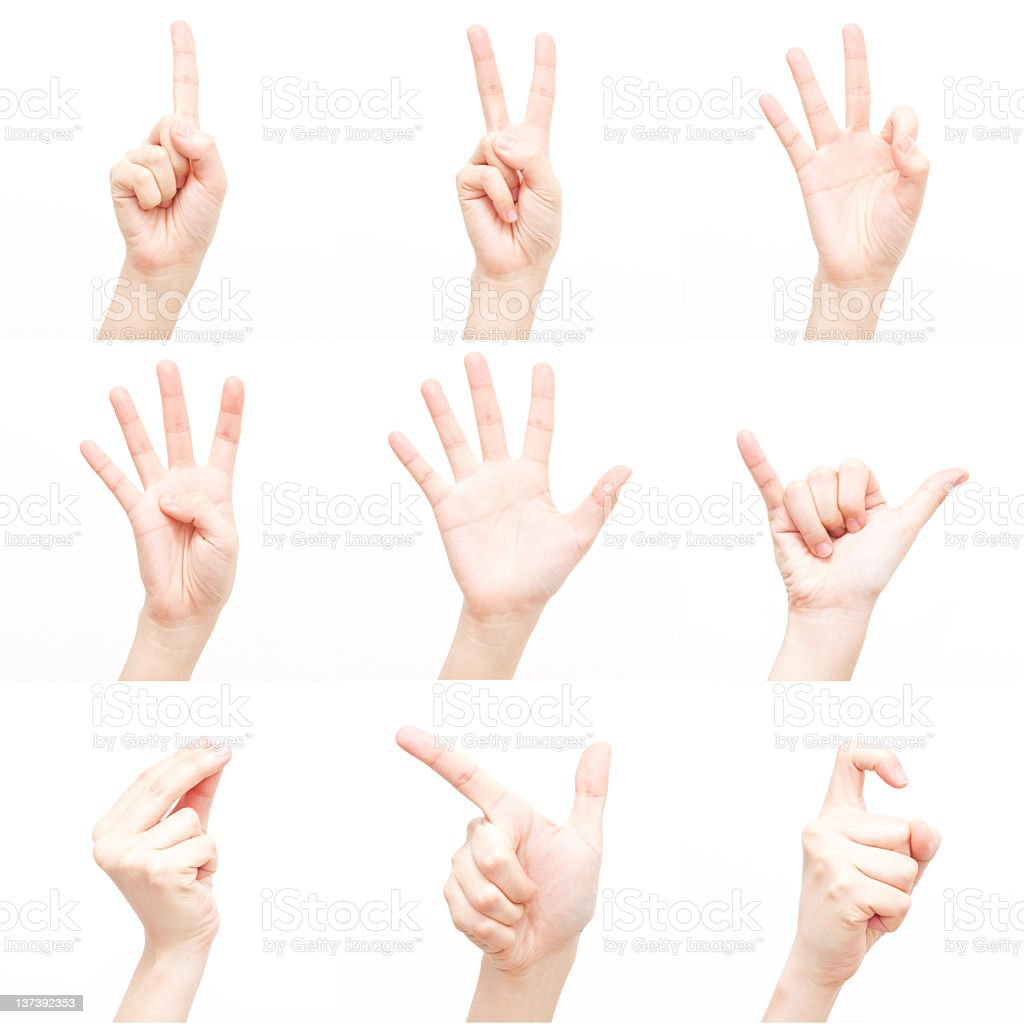 Use gestures to express of numbers (XXXL) royalty-free stock photo