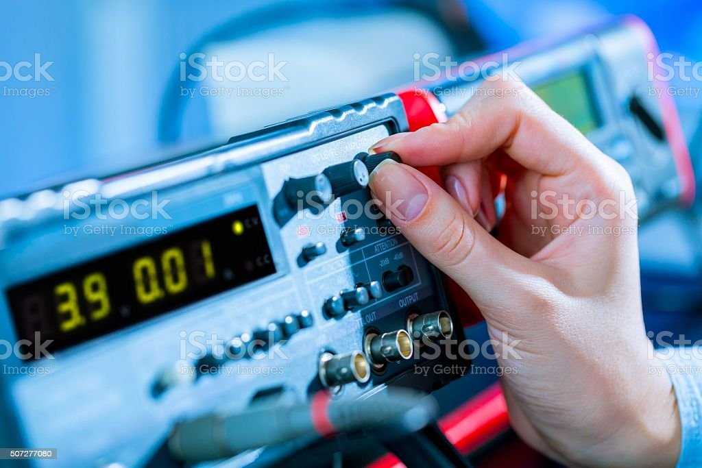 use of electronic measurement instruments stock photo