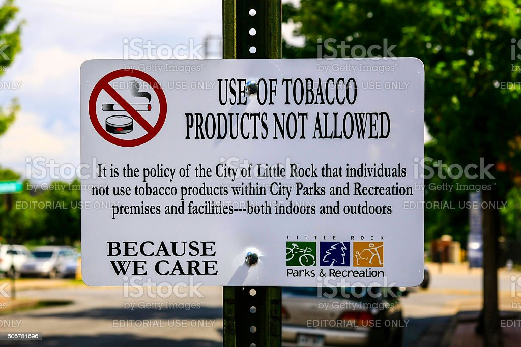 Use of Tobacco products not allowed sign stock photo