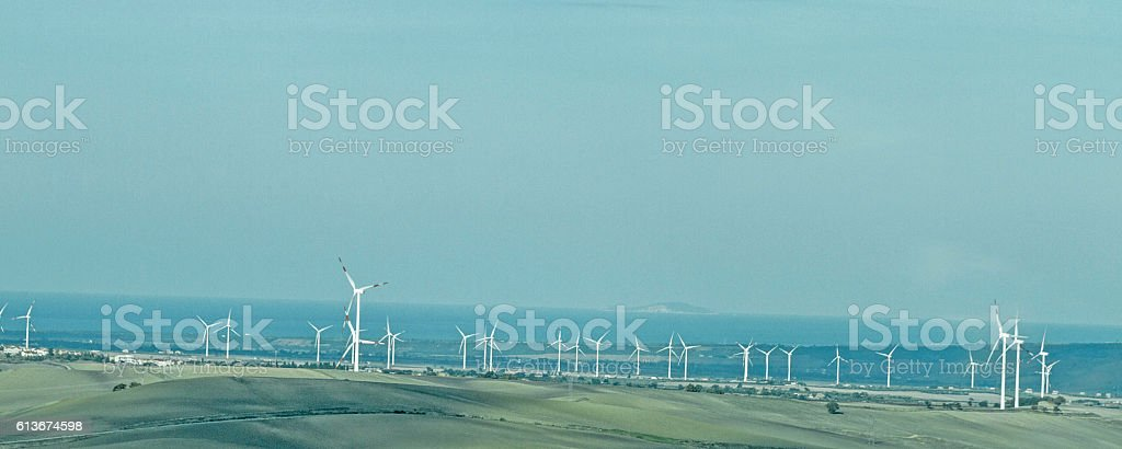 Use of wind power in southern Italy stock photo