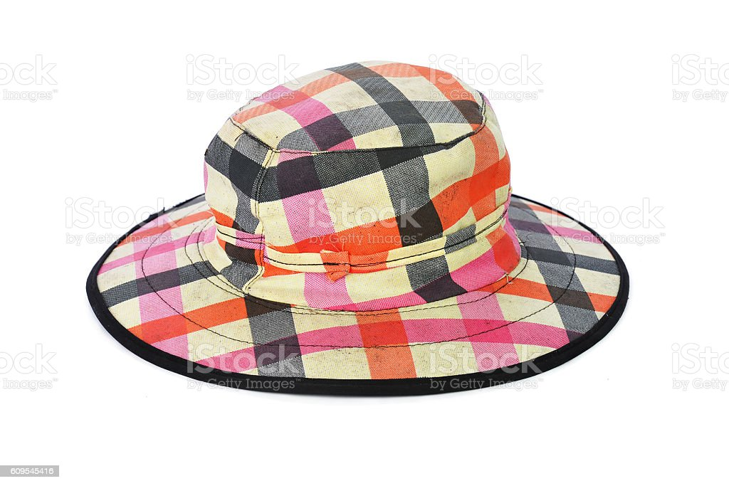 Use plaid hat isolated on white background stock photo