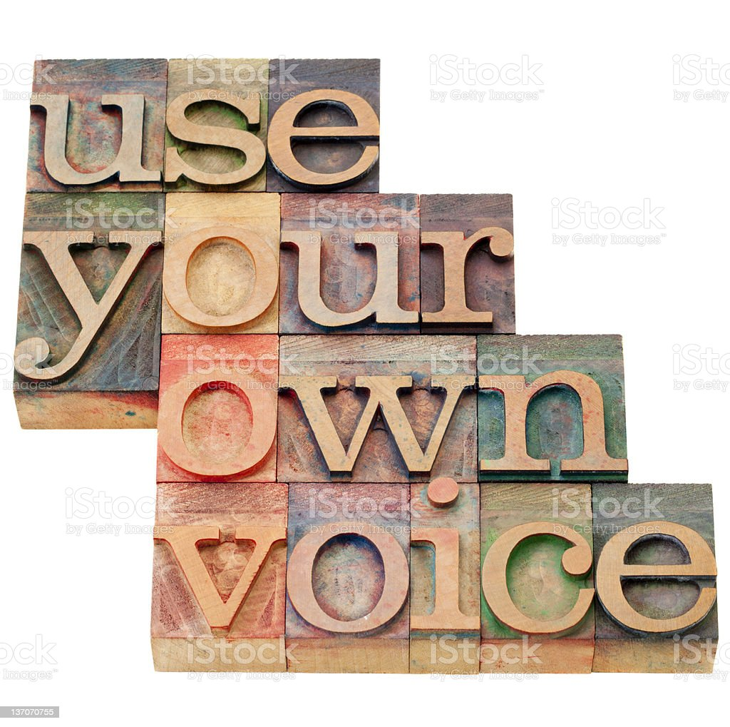use your own voice advice stock photo