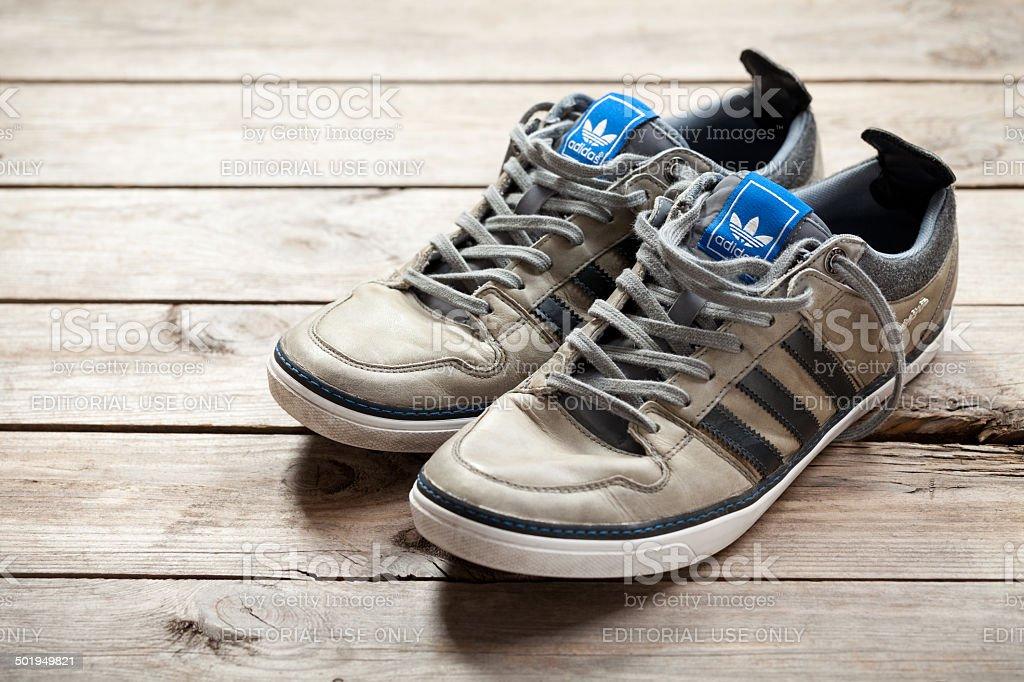 Used adidas shoes stock photo