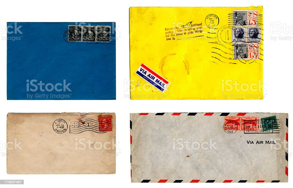 Used American envelopes - 1940s and 1960s royalty-free stock photo
