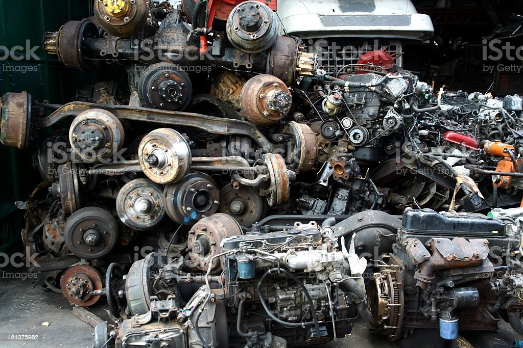 Used and surplus car engines and other car parts stock photo