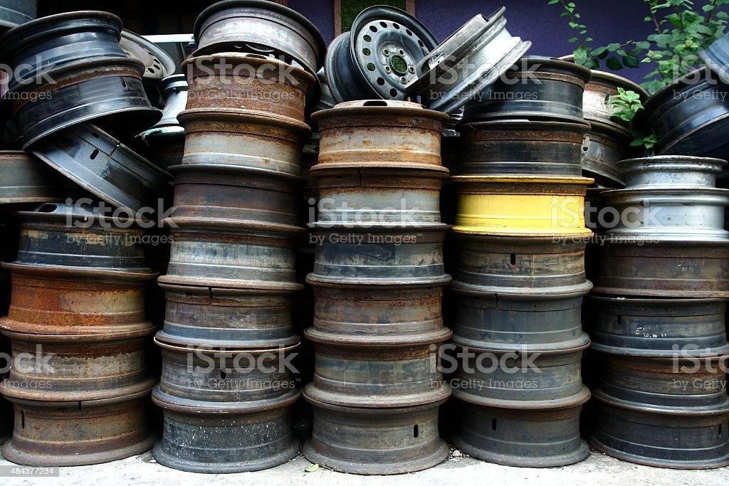 Used and surplus tire rims stock photo