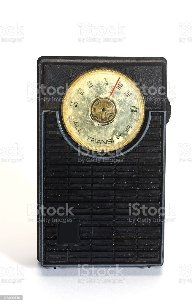 used antique transistor radio stock photo