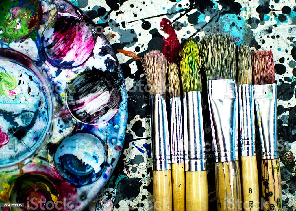 Used Art Paint Brushes In A Row royalty-free stock photo