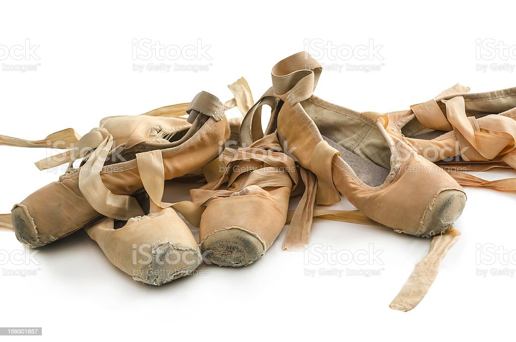 Used ballet shoes royalty-free stock photo