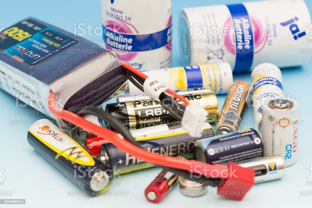 Used batteries and rechargeable batteries for recycling stock photo