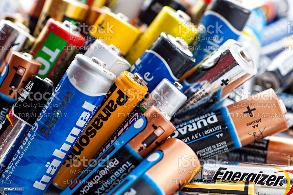 used batteries stock photo