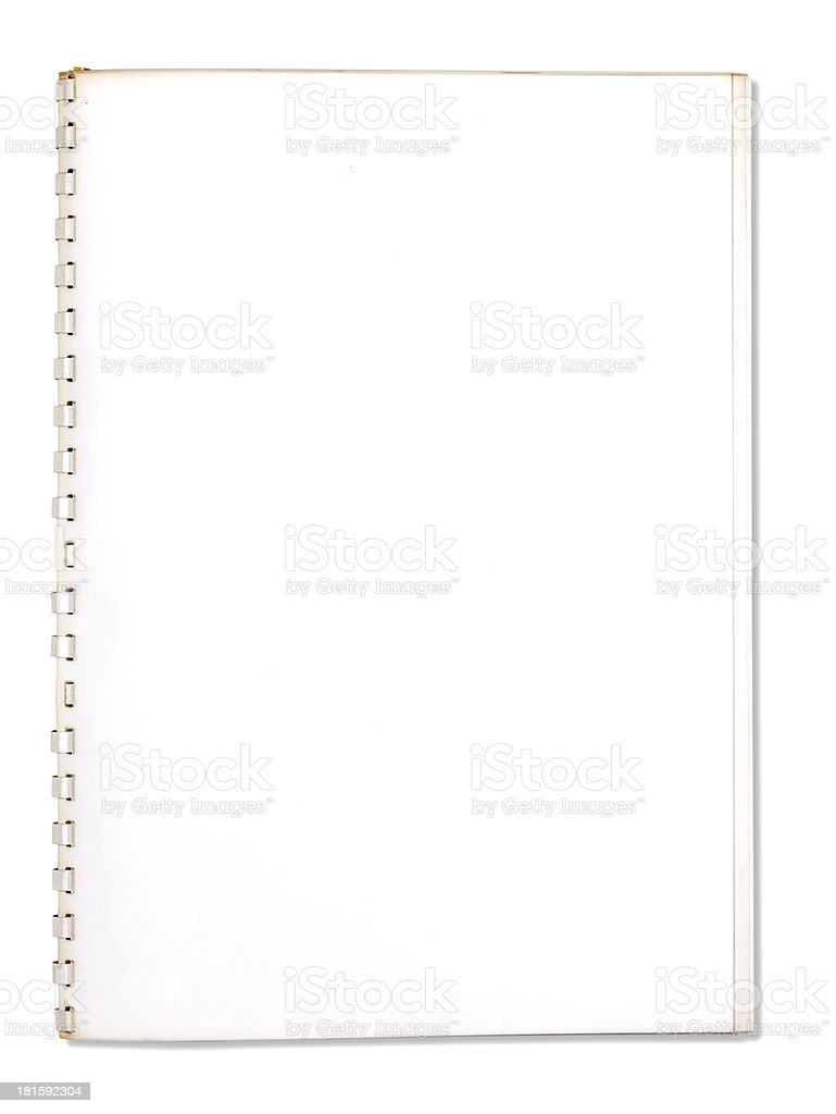 used blank note book with ring binder isolated on white royalty-free stock photo